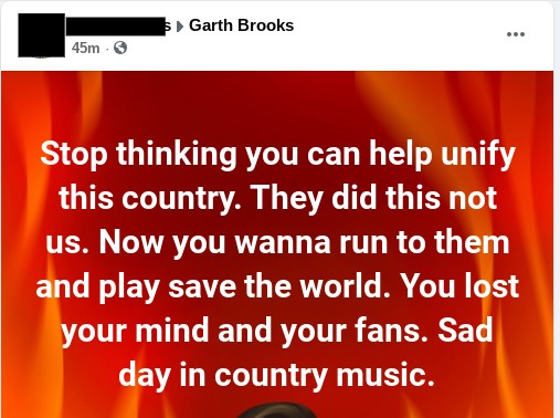 Garth Brooks fans dump him over Biden