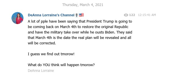 DeAnna Lorraine boasts that Trump will stage a coup