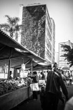 Street situation on the market on Sunday.
