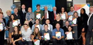 Group photo of winners and guests of the 2017 Hawkesbury Sports Awards