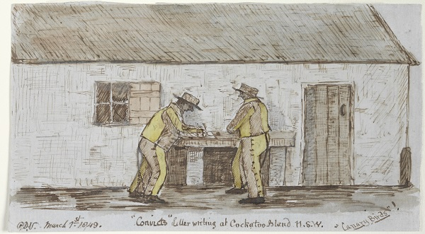 Convicts Letter writing at Cockatoo Island 'Canary Birds' Courtesy State Library of NSW