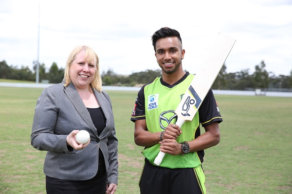 Mayor of The Hills Shire, Dr Michelle Byrne with recently re-signed Sydney Thunder Player Arjun Nair.