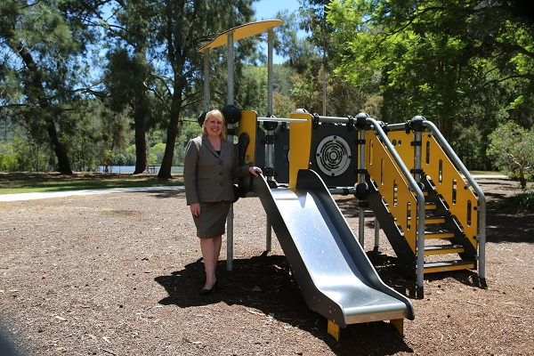 Mayor Byrne pictured at the upgarded playground