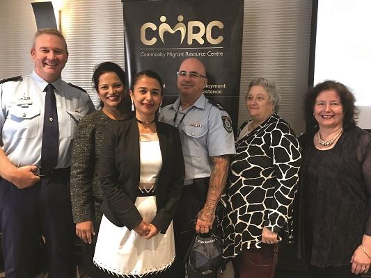 Hills LAC Commander Supt Rob Critchlow, Hills Councillor Reena Jethi, CMRC CEO Melissa Monteiro, Snr Constable Jason Roughley, Nola Randall and Aurelia Rahman.