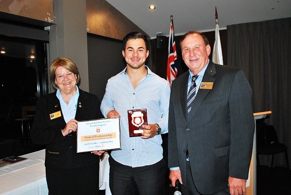 Anthony with Robert Mackey (Club President) and Bobby Redman (Rotary Vocational Chair) receiving his award