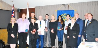 THE SEVEN AWARDEES WITH COMMUNITY AND ROTARY LEADERS left to right: Michelle Byrne (Mayor, Hills Shire Council), Peter Peterson (awardee), Mark Taylor (State Member for Seven Hills), Vicky Harvey (awardee), Patrick Bowie (awardee), Michael Were (awardee), Vicky Harvey (awardee), Ovini Sellaperuma (awardee), Anthony Day (awardee), Bobby Redman (Rotary Vocational Chair), Hon David Elliott (Member for Baulkham Hills, Minister Counter Terrorism, Minister for Corrections and Minister for Veterans Affairs), Peter Ward (Rotary District Governor), Rob Mackey (Club President)