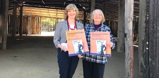 Annette Snars and Maureen Cartledge from Castle Hill Players promoting Communicating Doors at the Pavilion Theatre.