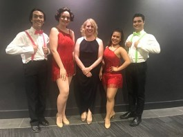 Hills Mayor Michelle Byrne with some of the cast from Dancing' In the Rain