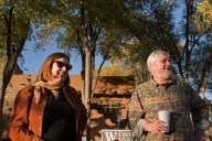 My wife, Kathy, and Doug enjoying the mobile garden
