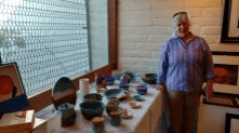 Martha Kelly and her colorful pottery