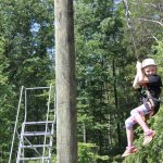 Young girl on ropes course