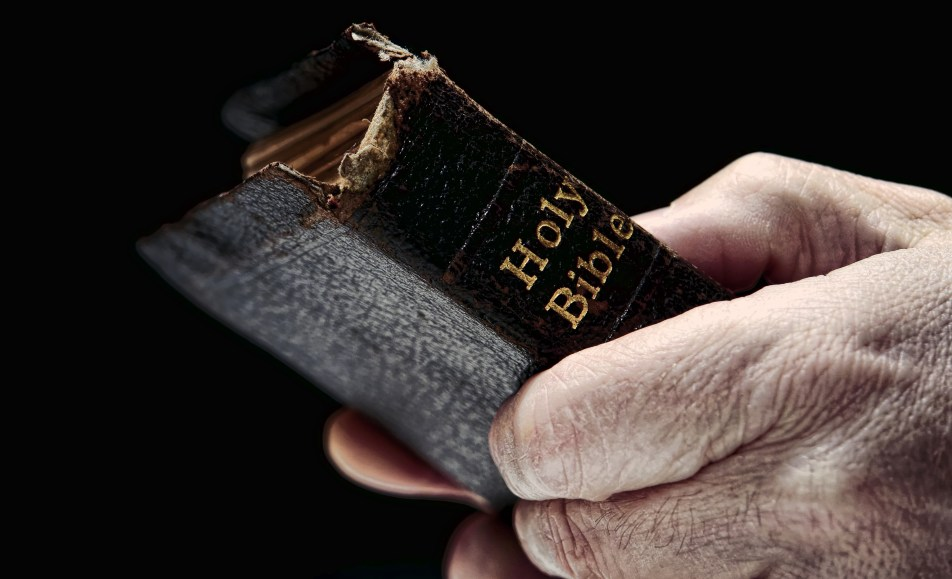 Man's hands holding Bible