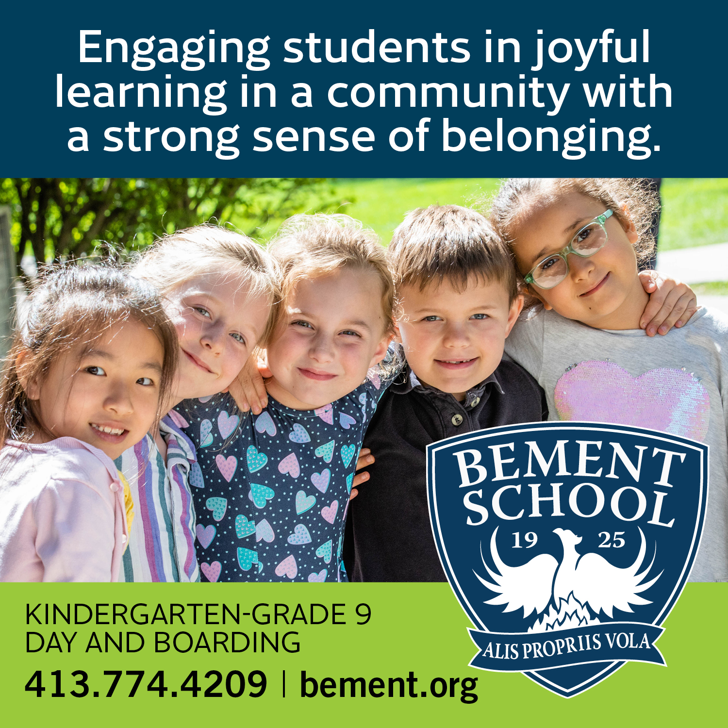 Photo of young students with logo overlay for Bement School.