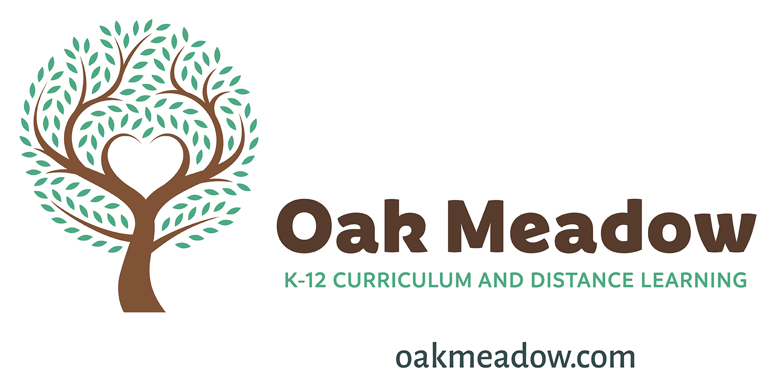 Logo for Oak Meadow, K-12 curriculum and distance learning. oakmaedow.com
