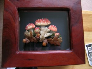 Mushrooms and Acorns mounted