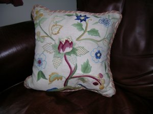 The Tulip Tree cushion, designed by Phillipa Turnbull of The Crewelwork Company