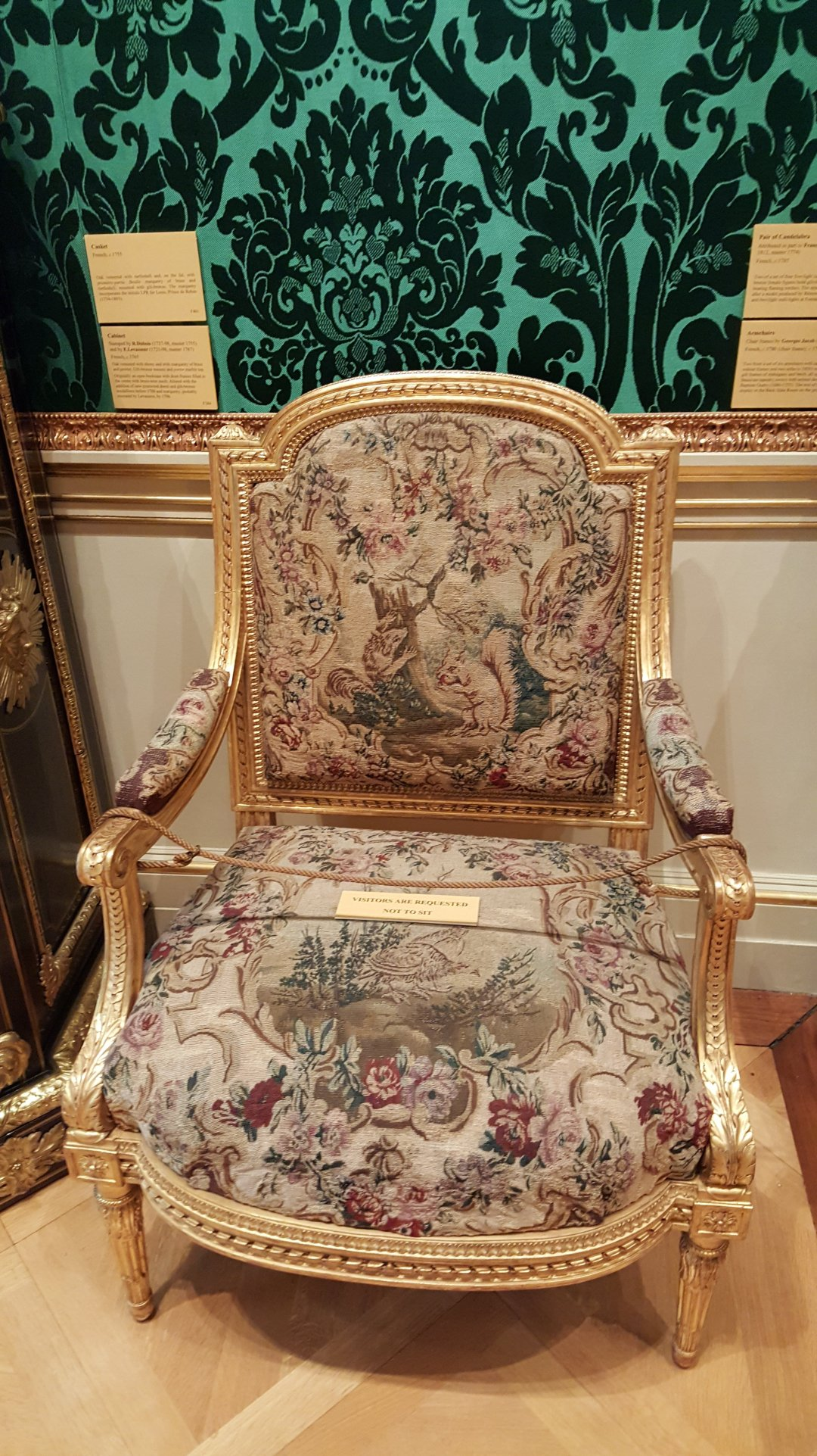 2015 Oct Wallace Collection tapestry chair squirrel