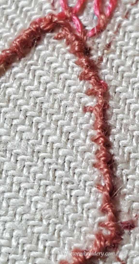 detail of coral stitch