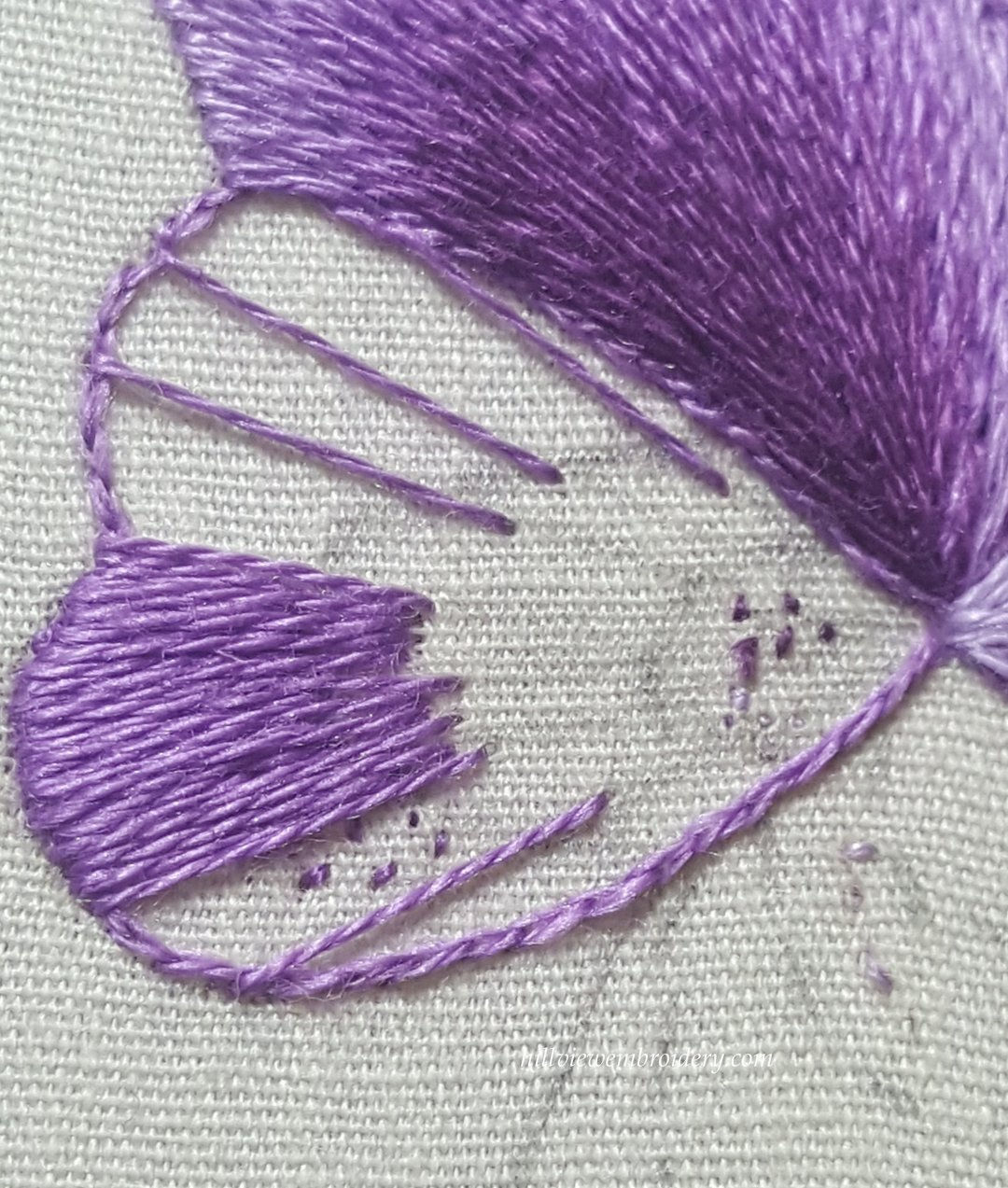 A work in progress image of a silk shaded petal