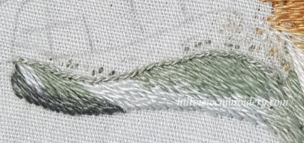 Split stitch to give dimension