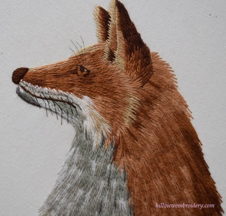 Completed silk shading of red fox stitched by Catherine of Hillview Embroider and designed by Tanja Berlin