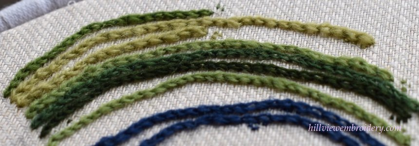 Chain stitch sampler worked by Catherine of Hillview Embroidery