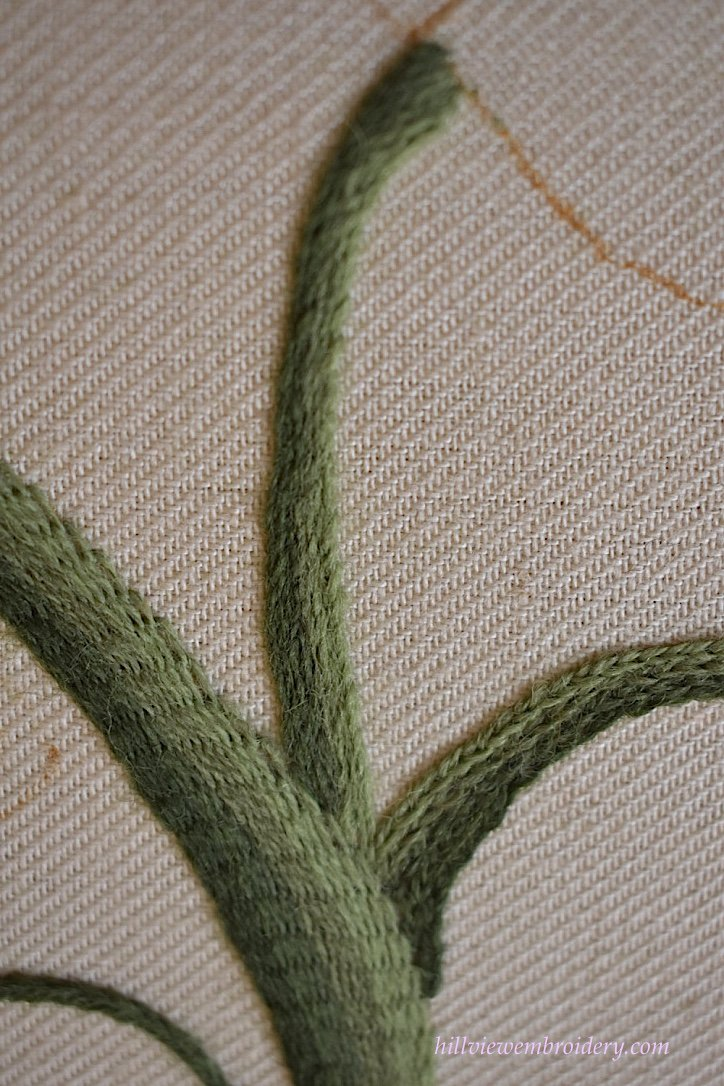 stem stitch worked together to create a thick stem