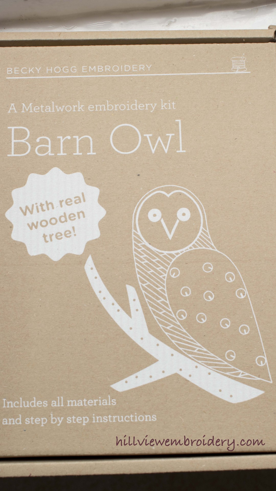 The beautifully packaged owl metallic work kit by Becky Hogg