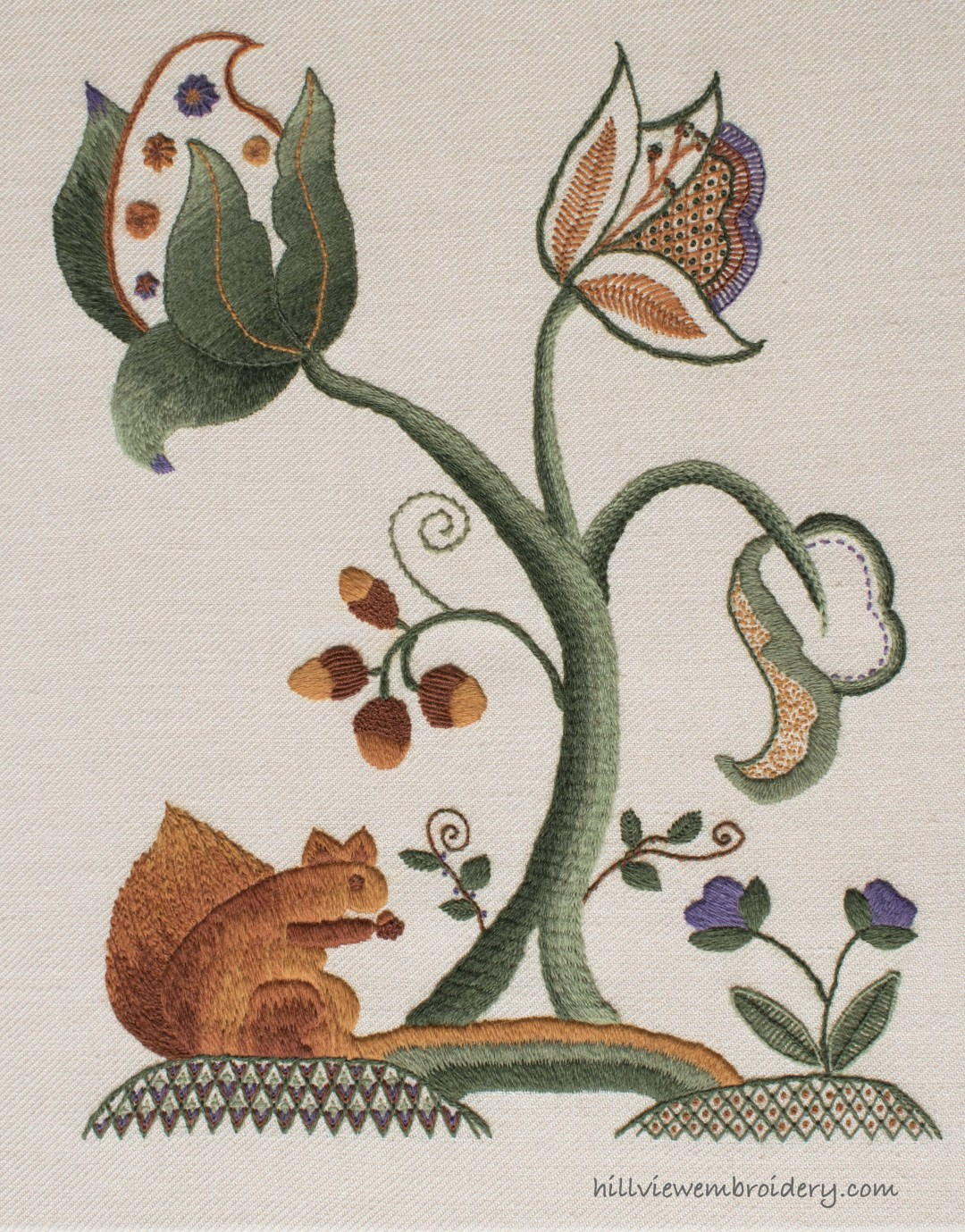 Completed piece of Jacobean Crewelwork for the RSN Certificate