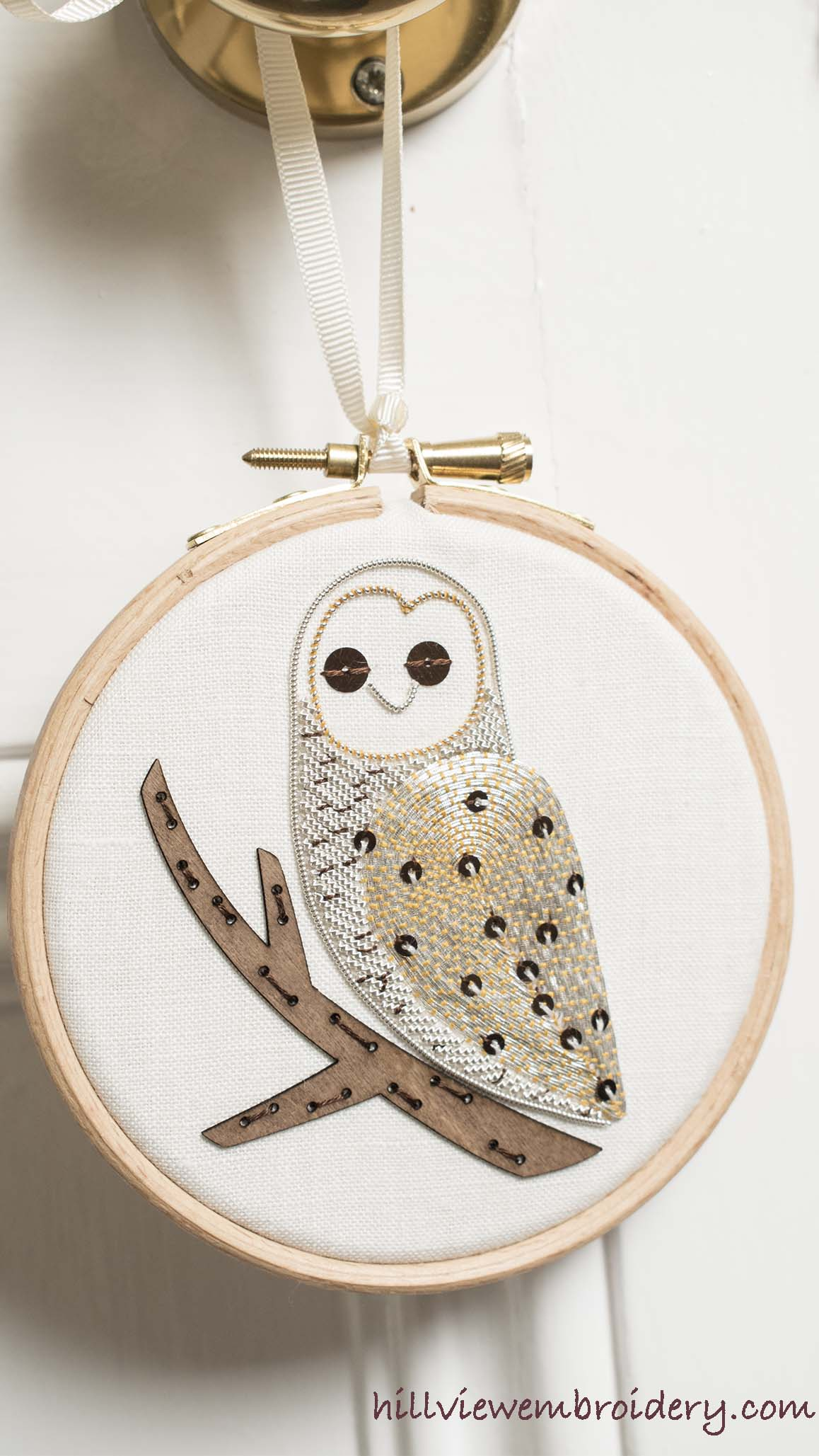 completed metallic work owl designed by Becky Hogg and stitched by Catherine Patterson