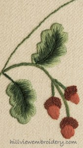 crewelwork acorns and oak leaves