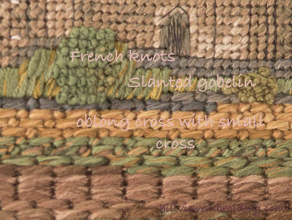 Canvaswork stitches in detail