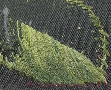 Developing the shading on a silk shaded leaf being stitched as part of the RSN certificate