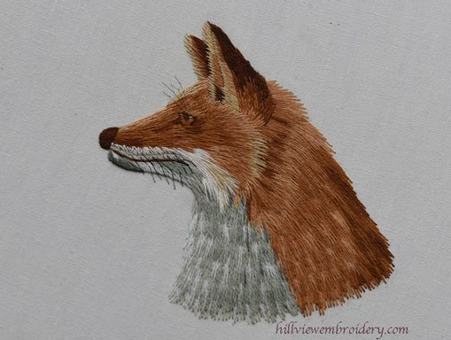 silk shaded fox designed by Tanja Berlin and stitched by Catherine Patterson