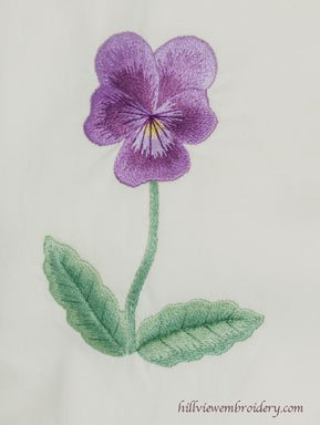 Silk shaded pansy designed by Tanja Berlin and stitched by Catherine Patterson