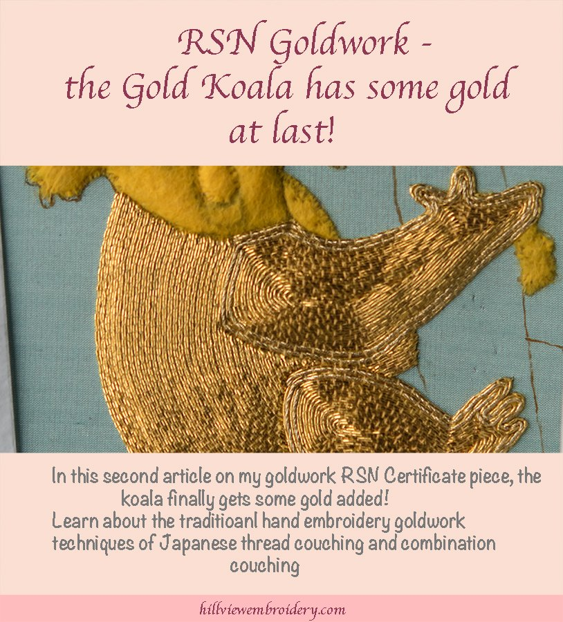 RSN Certificate Goldwork - examples of Japanese thread and combination couching