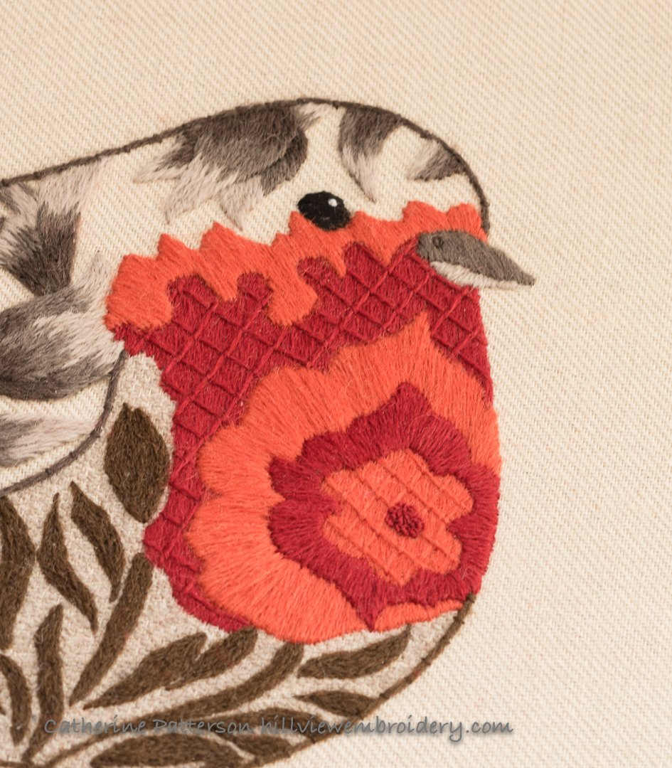 Crewelwork robin bright breast