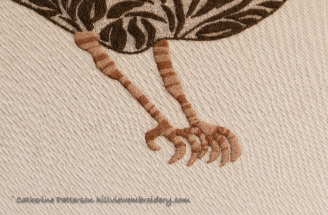 Crewelwork Robin legs and feet