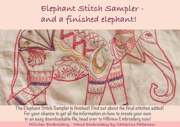 Stitch sampler with a twist - a sampler in the form of an elephant!