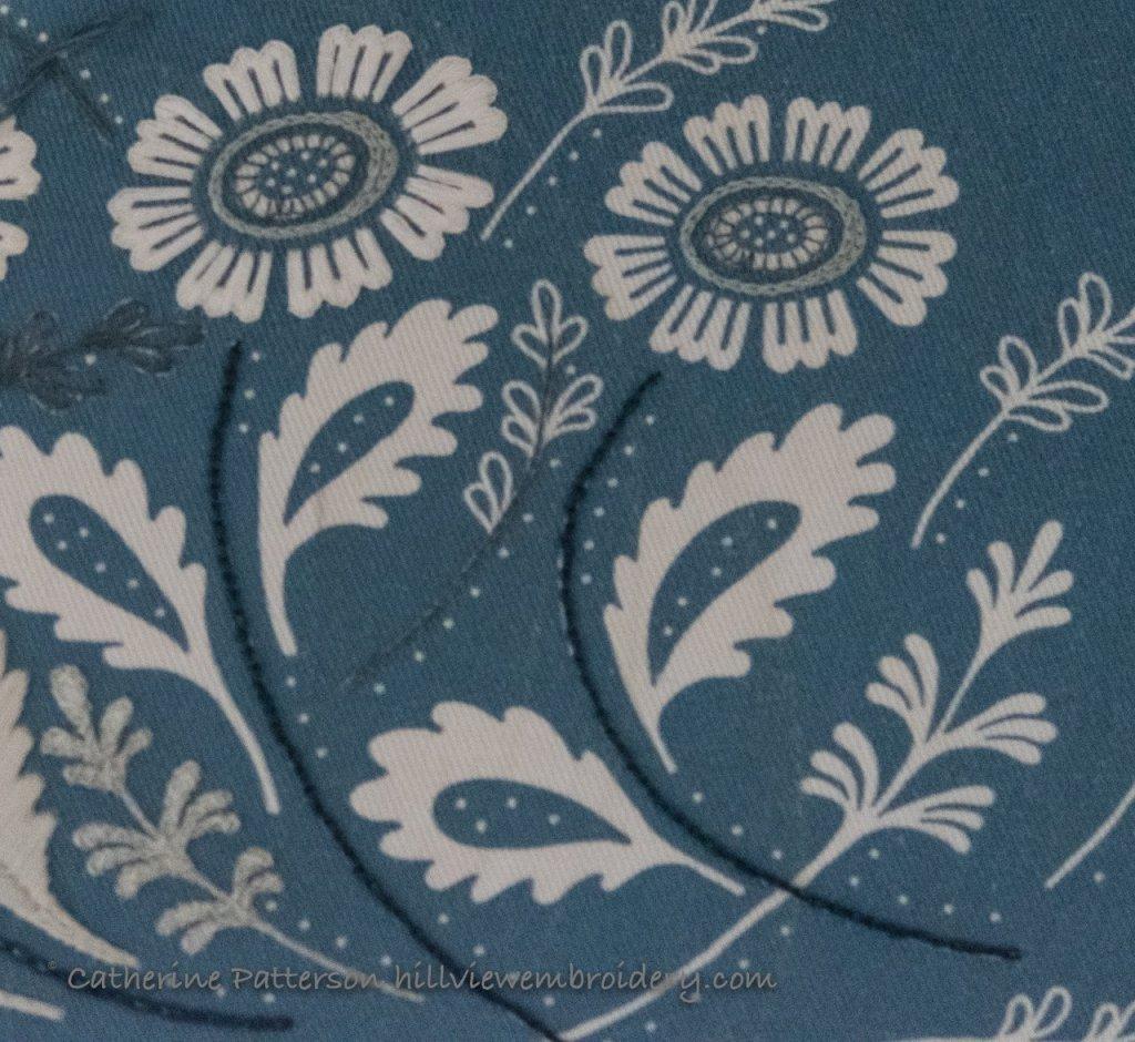 Stitching on Annes Orchard clutch progress. Just a few stitches