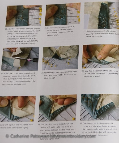 Marg Dier showing in detail how to mount your finished piece of embroidery so it can be framed