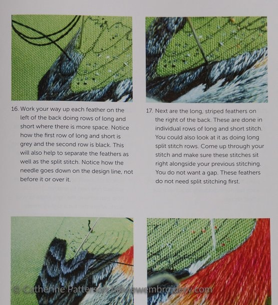 Marg Dier demonstrating the technique of silk shading/thread painting on a bird's feathers in her new book on the technique