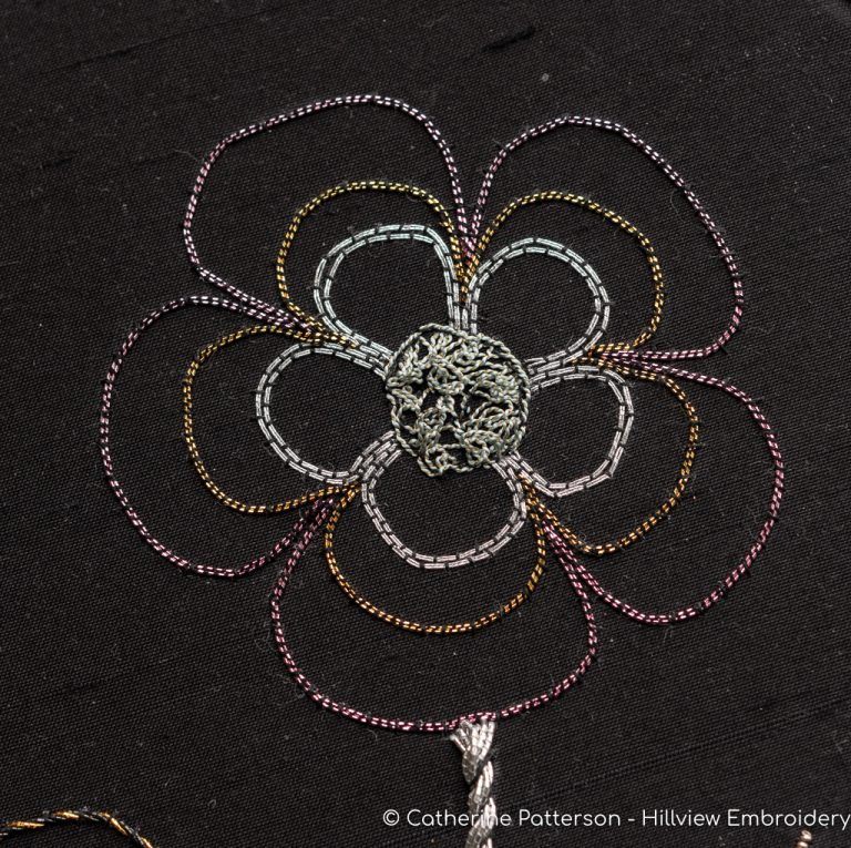 gothic inspired flower worked in a variety of different couching threads