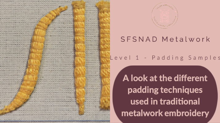 Padding is an important part of metalwork embroidery. Join me as we look into the various techniques used in traditional metalwork hand embroidery. Catherine at Hillview Embroidery