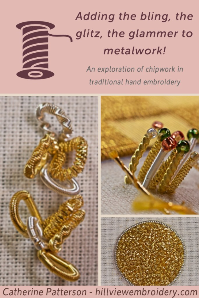 Join Catherine from Hillview Embroidery as she explores the chipping technique used in traditional metalwork hand embroidery.
