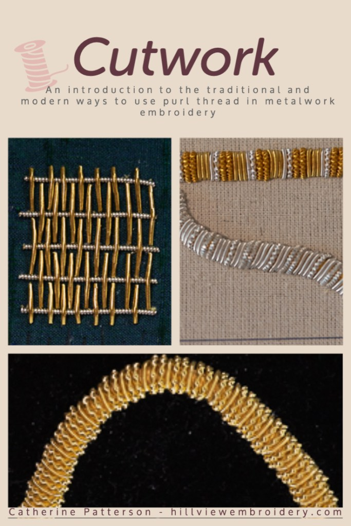 A look at how purl can be used in a traditional and non-traditional way in metalwork hand embroidery. As explored by Catherine of Hillview Embroidery
