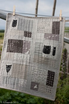 Neutral quilt; owls, birds, plains, stripes and dots