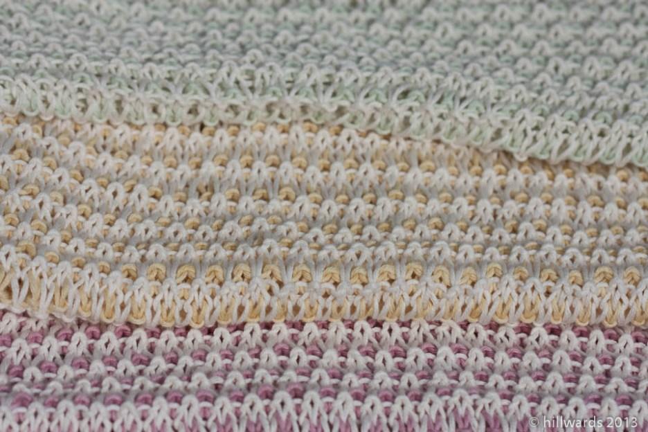 Tricolour handknit slip stitch summer baby blanket