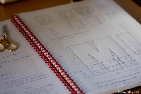 Design drawings for M-letter bag