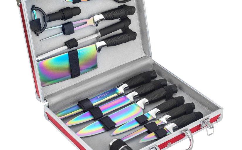 Juego de 12 cuchillos, con revestimiento de titanio